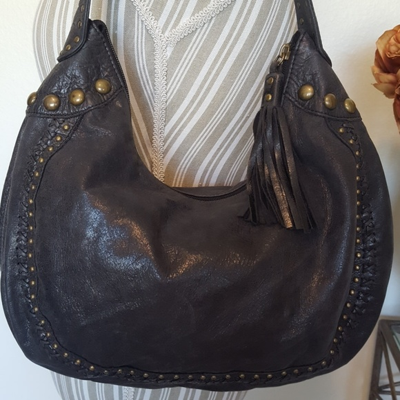 be8fb660d2 Fossil Handbags - Fossil Black Soft Leather Studded Hobo Bag Purse